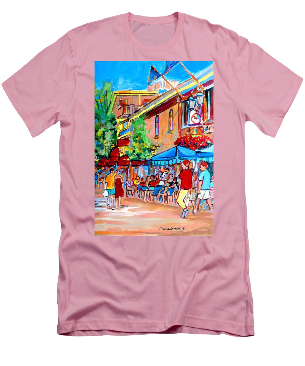 Cafes Men's T-Shirt (Athletic Fit) featuring the painting Prince Arthur Street Summer by Carole Spandau