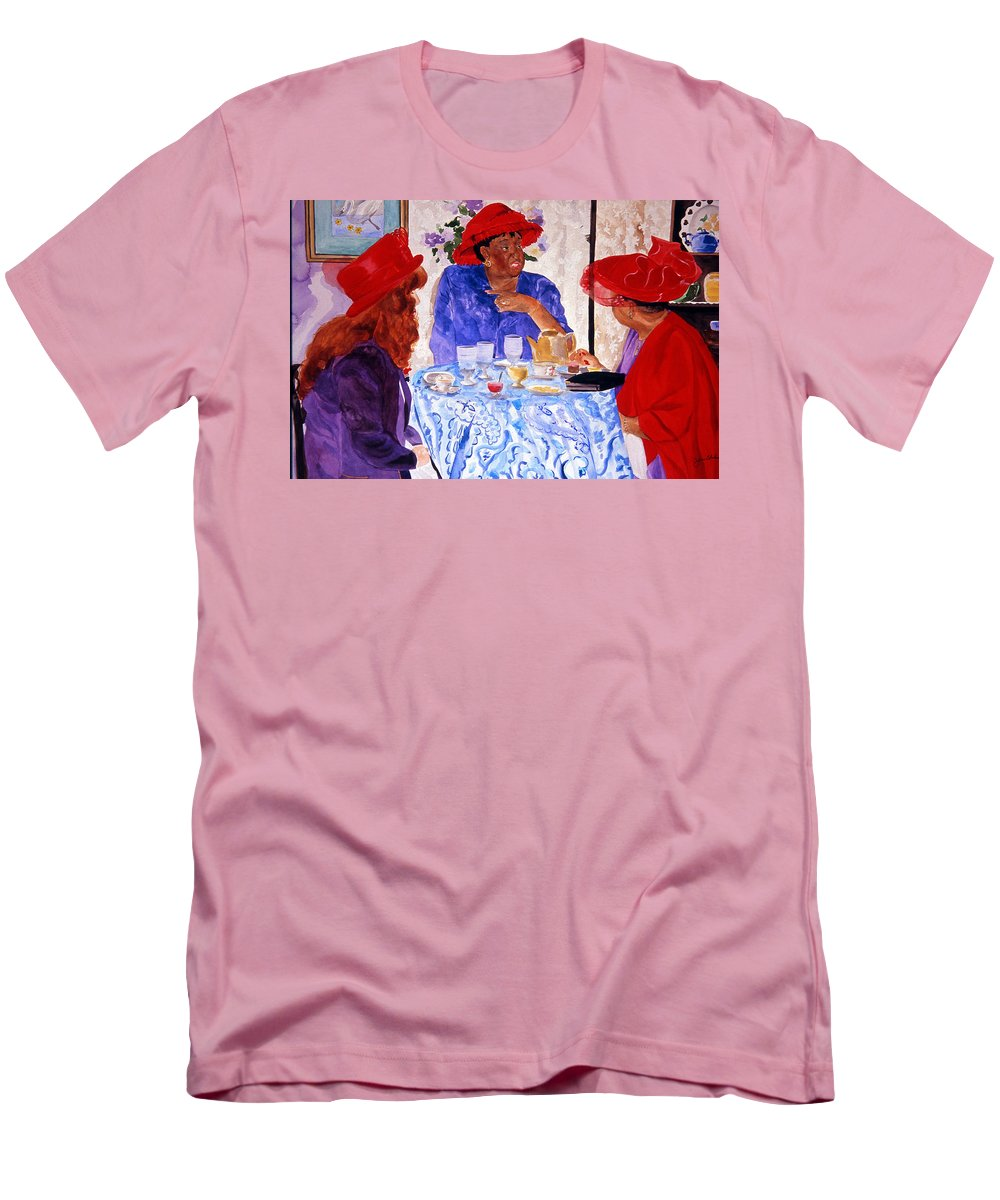Red Hat Men's T-Shirt (Athletic Fit) featuring the painting Red Hatters Chatter by Jean Blackmer