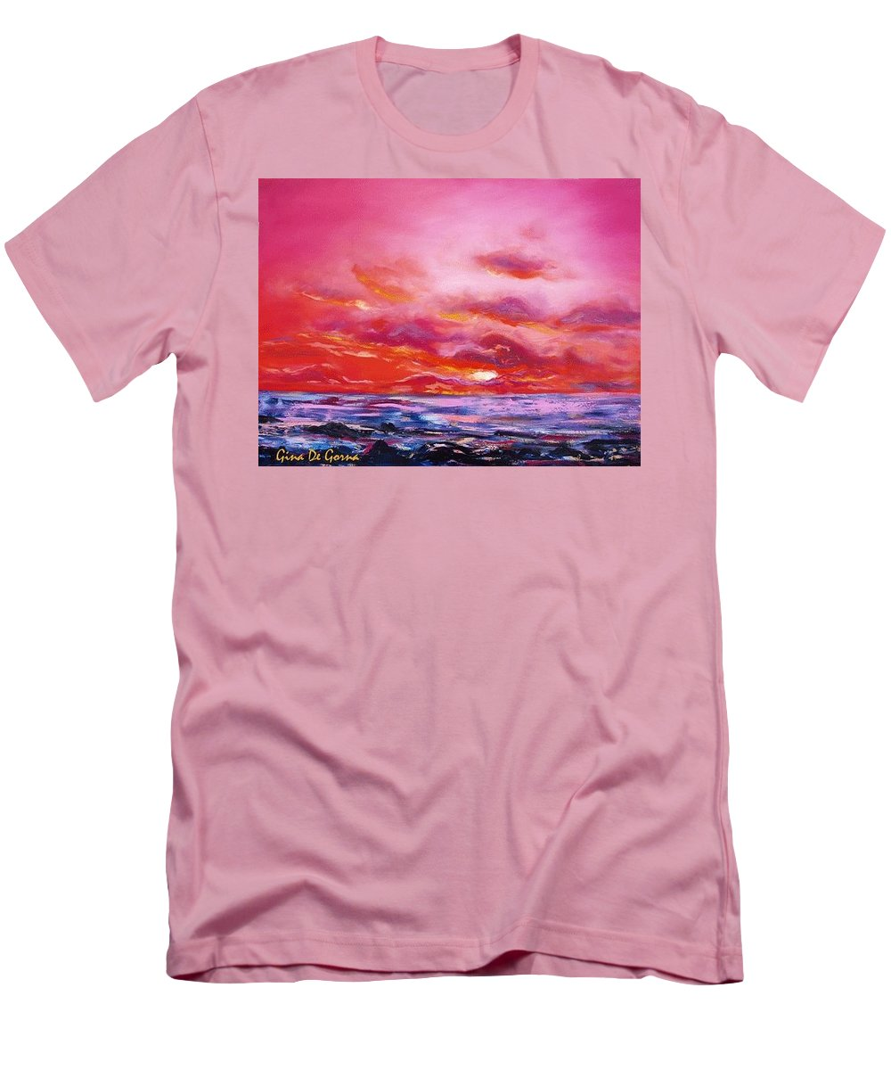Red Men's T-Shirt (Athletic Fit) featuring the painting Red Sunset by Gina De Gorna