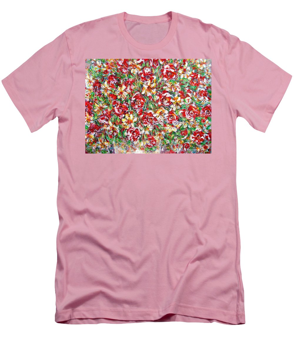 Red Roses Men's T-Shirt (Athletic Fit) featuring the painting Roses For You by Natalie Holland