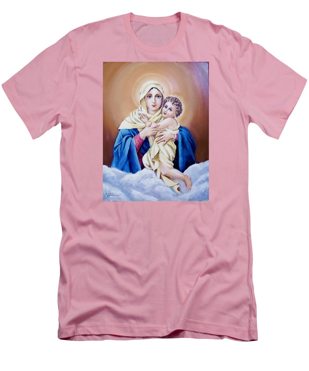 Religious Men's T-Shirt (Athletic Fit) featuring the painting Schoenstat-tribute by Natalia Tejera