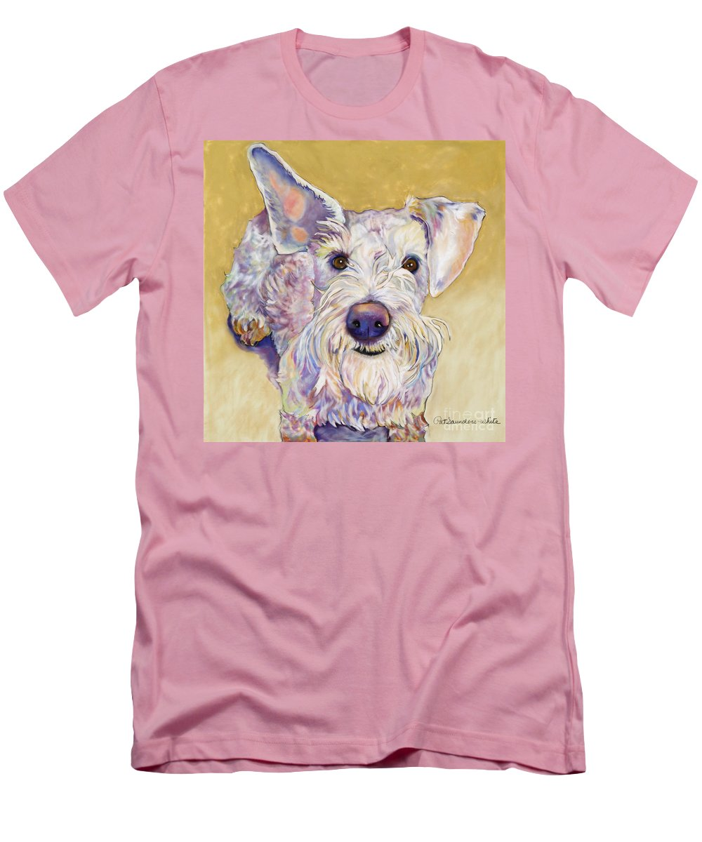 Schnauzer Men's T-Shirt (Athletic Fit) featuring the pastel Scooter by Pat Saunders-White