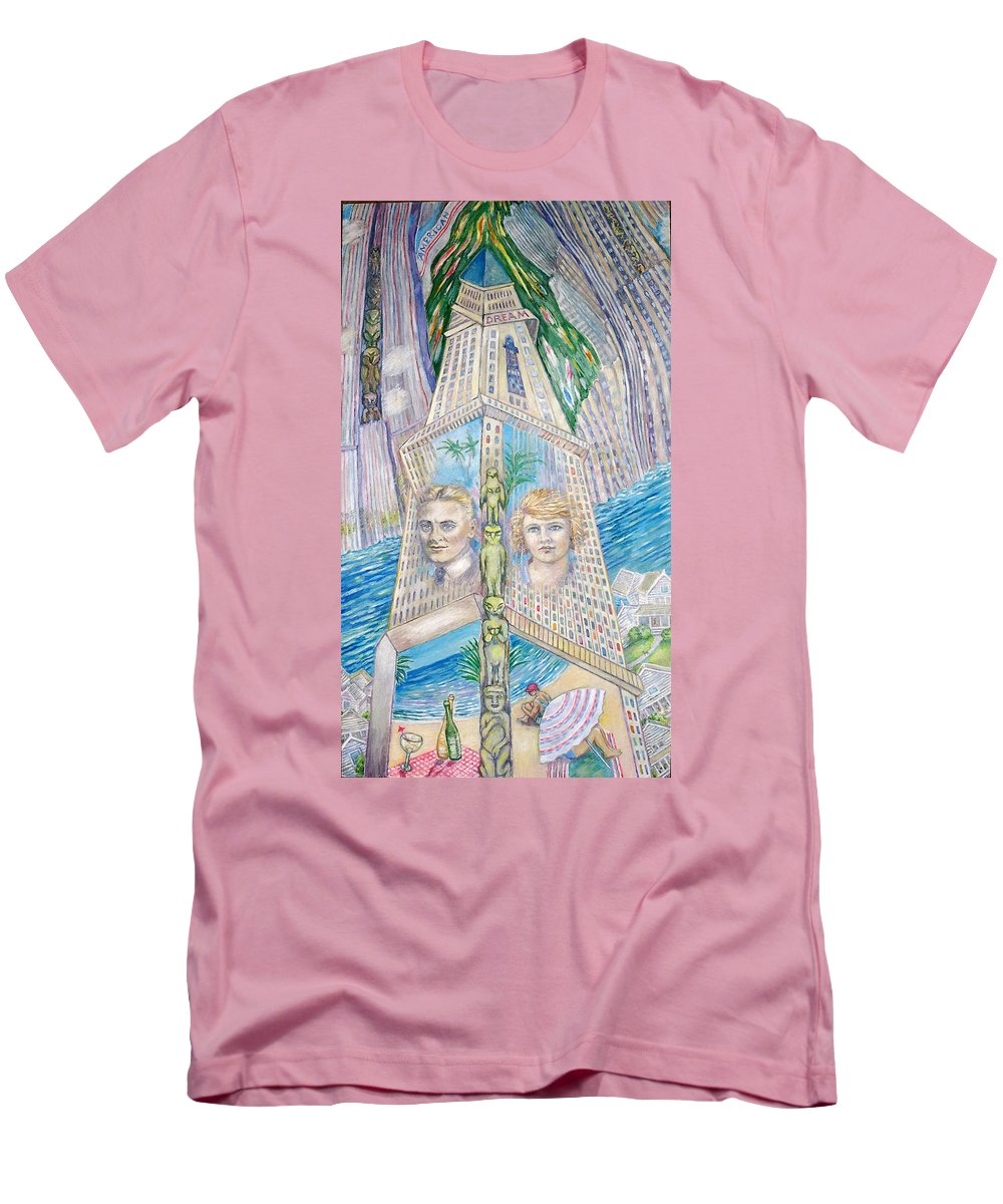 New York Fantasy Men's T-Shirt (Athletic Fit) featuring the painting Scott And Zelda In Their New York Dream Tower by Patricia Buckley