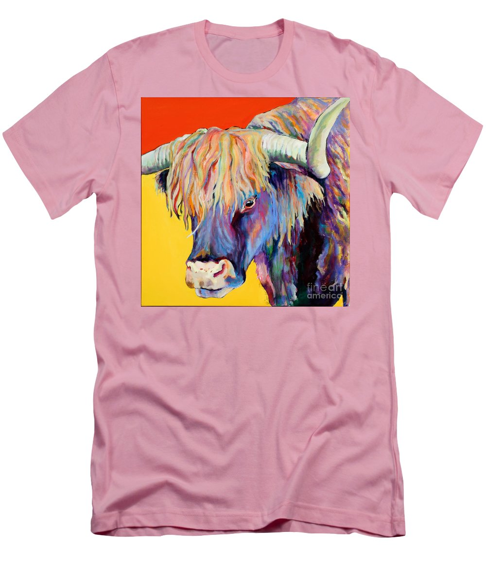 Farm Animal Men's T-Shirt (Athletic Fit) featuring the painting Scotty by Pat Saunders-White