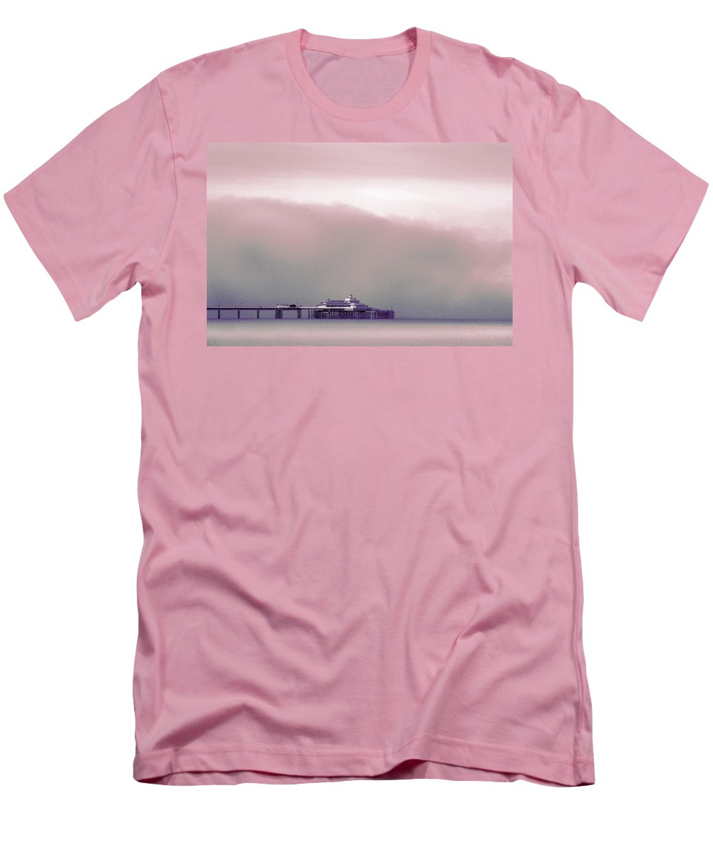 Pier Men's T-Shirt (Athletic Fit) featuring the photograph Sea Mist Replaces The Great Orme As The Backdrop To Llandudno Pier by Mal Bray