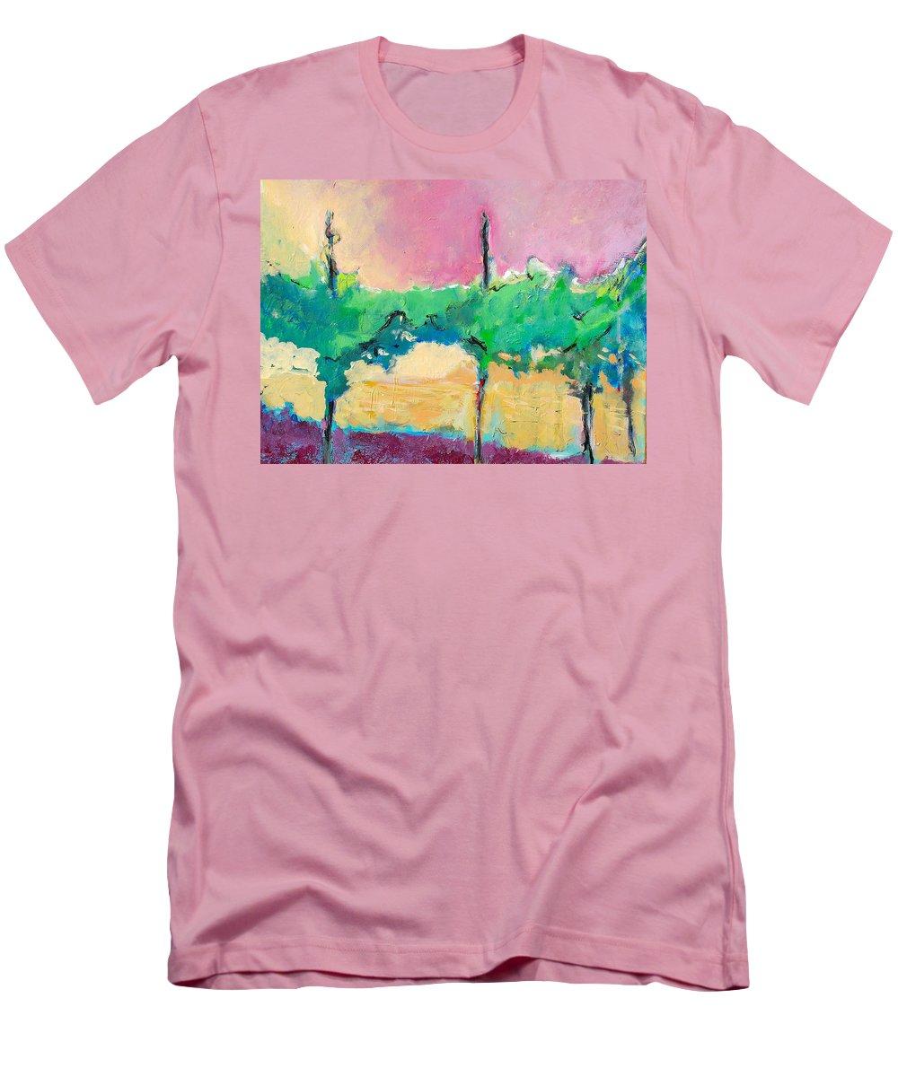 Vineyard Men's T-Shirt (Athletic Fit) featuring the painting Simpatico by Kurt Hausmann