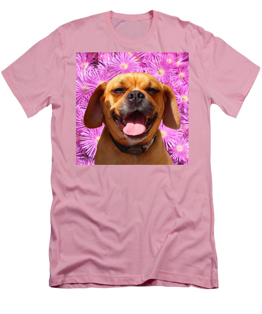 Animal Men's T-Shirt (Athletic Fit) featuring the painting Smiling Pug by Amy Vangsgard