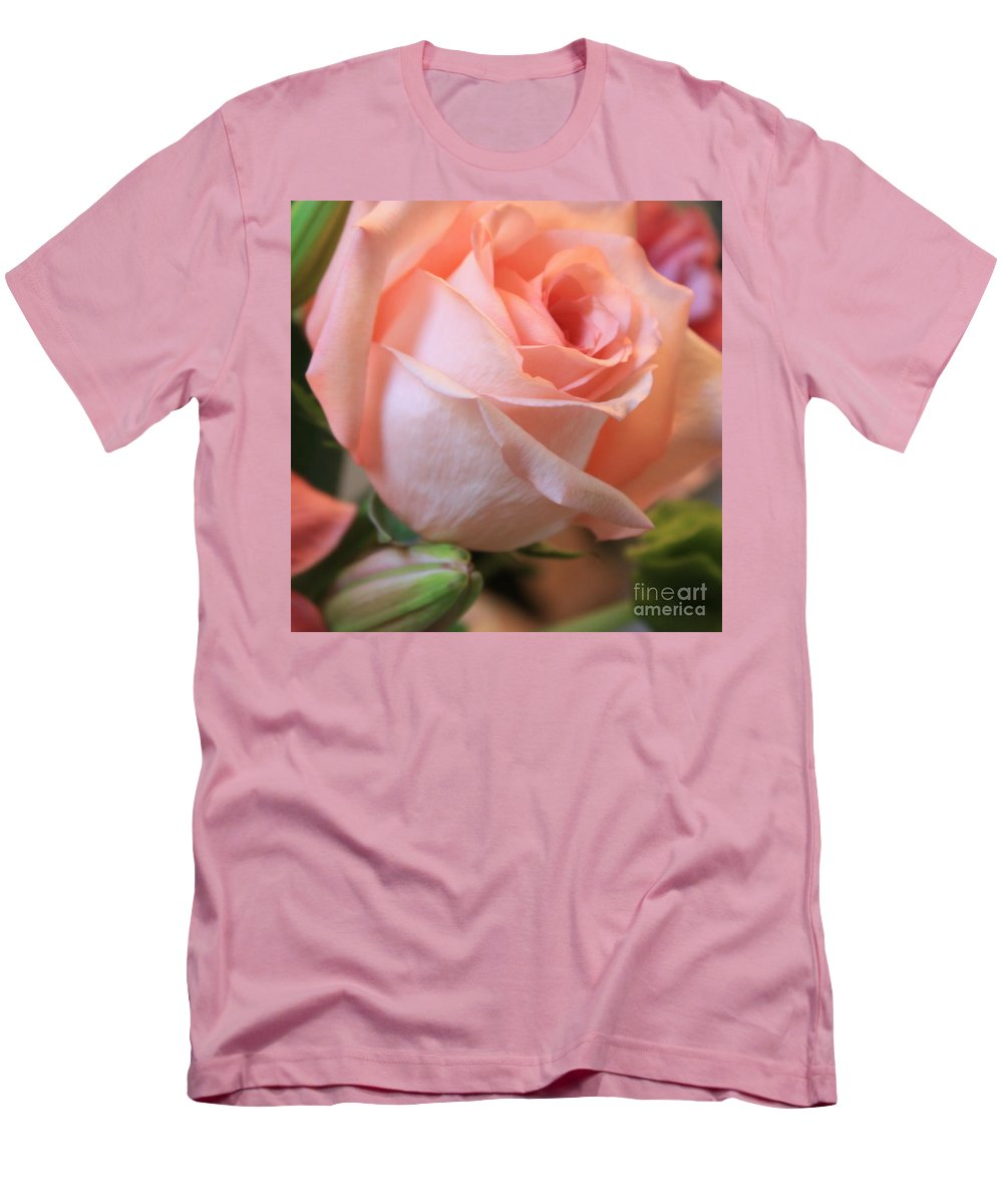Pink Rose Men's T-Shirt (Athletic Fit) featuring the photograph Soft Pink Rose by Carol Groenen