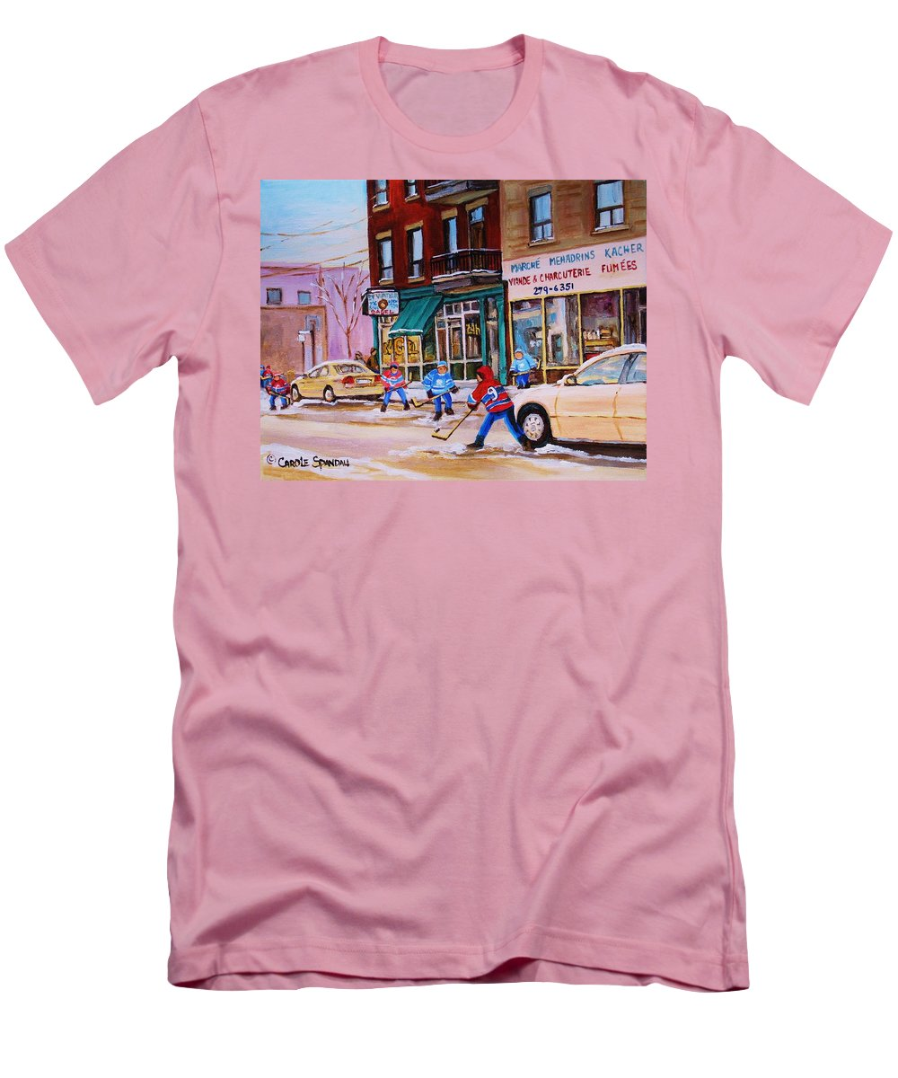 Montreal Men's T-Shirt (Athletic Fit) featuring the painting St. Viateur Bagel With Boys Playing Hockey by Carole Spandau