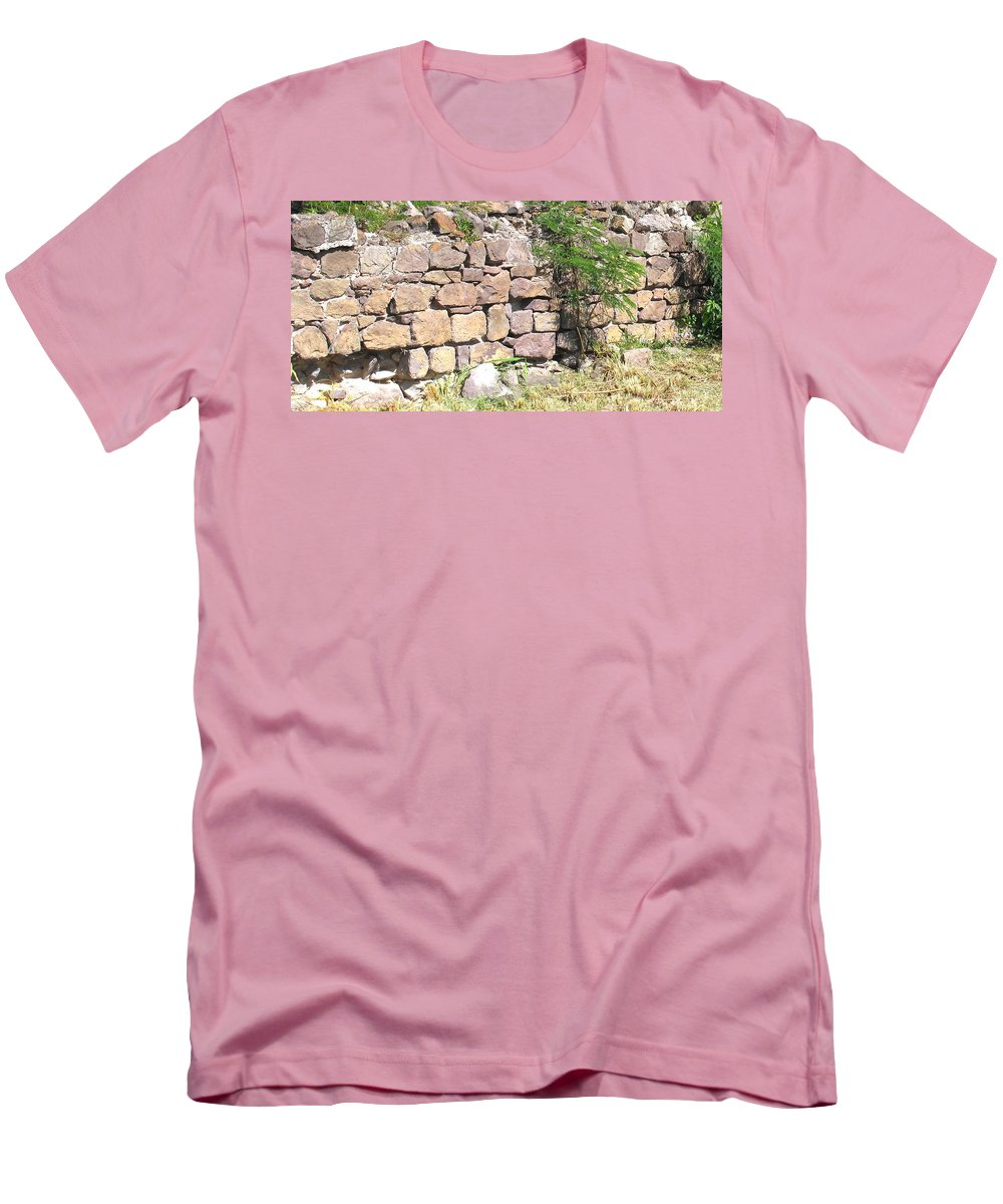 Stone Wall Men's T-Shirt (Athletic Fit) featuring the photograph Stone Wall by Ian MacDonald