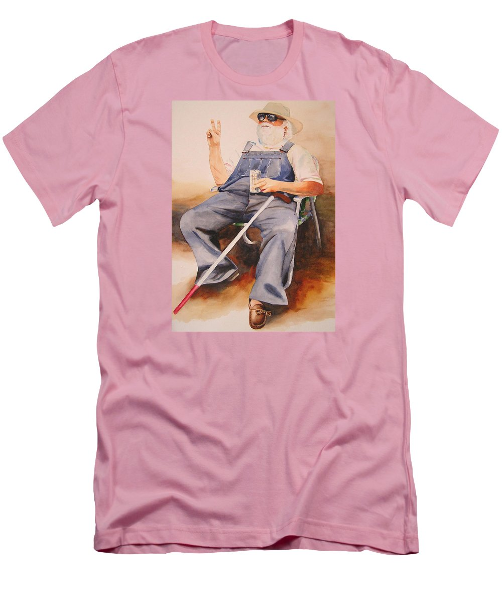 Blind Man Men's T-Shirt (Athletic Fit) featuring the painting Sun Worshipper by Karen Stark