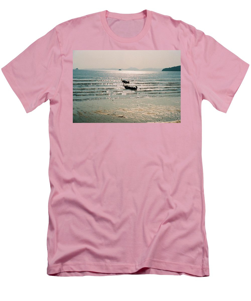Sea Men's T-Shirt (Athletic Fit) featuring the photograph Sunset At Krabi by Mary Rogers