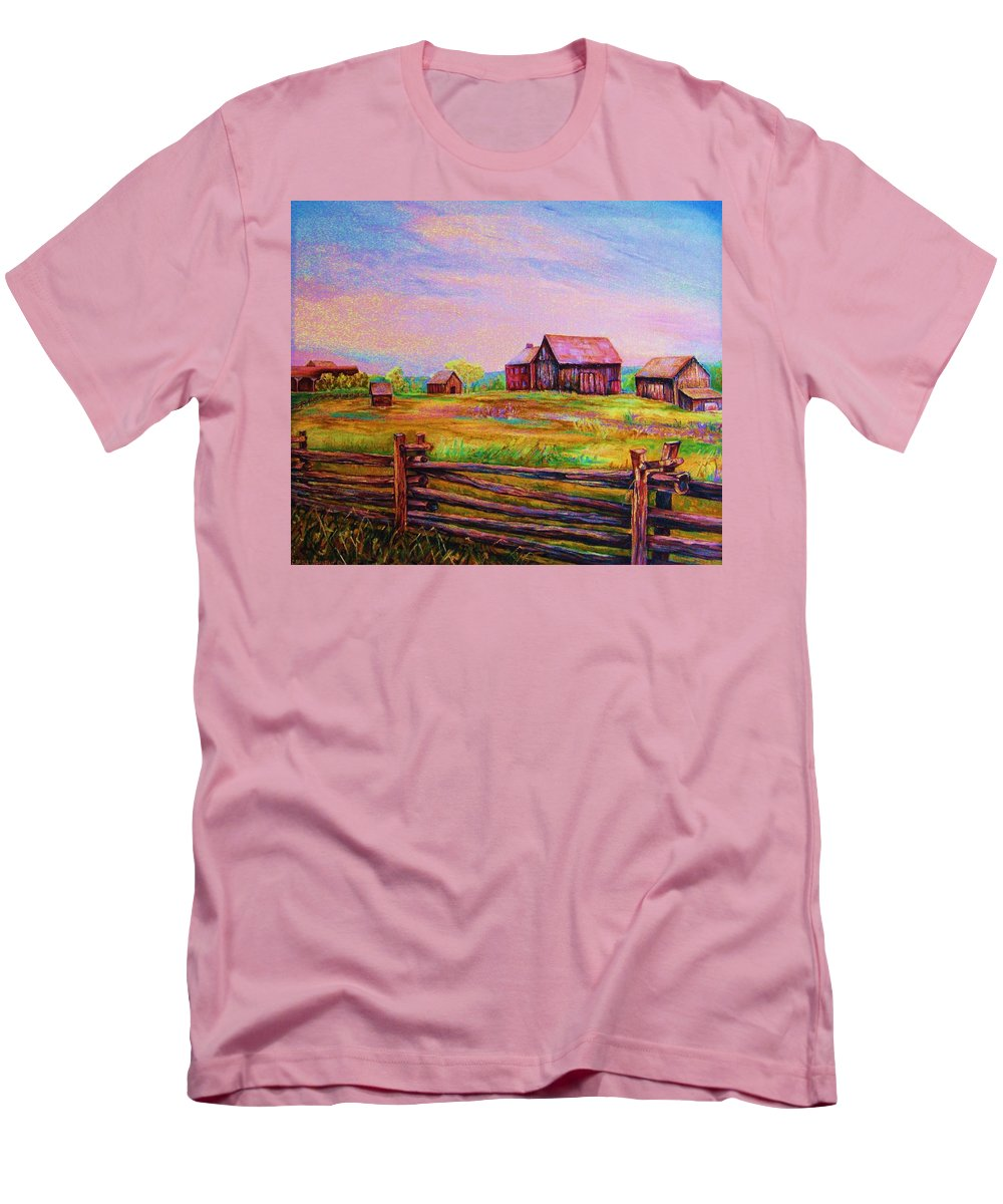 Ranches Men's T-Shirt (Athletic Fit) featuring the painting The Log Fence by Carole Spandau