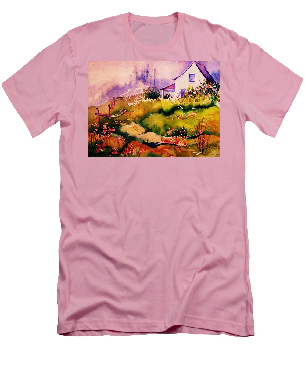 Cottagescenes Men's T-Shirt (Athletic Fit) featuring the painting Vermont Summers by Carole Spandau