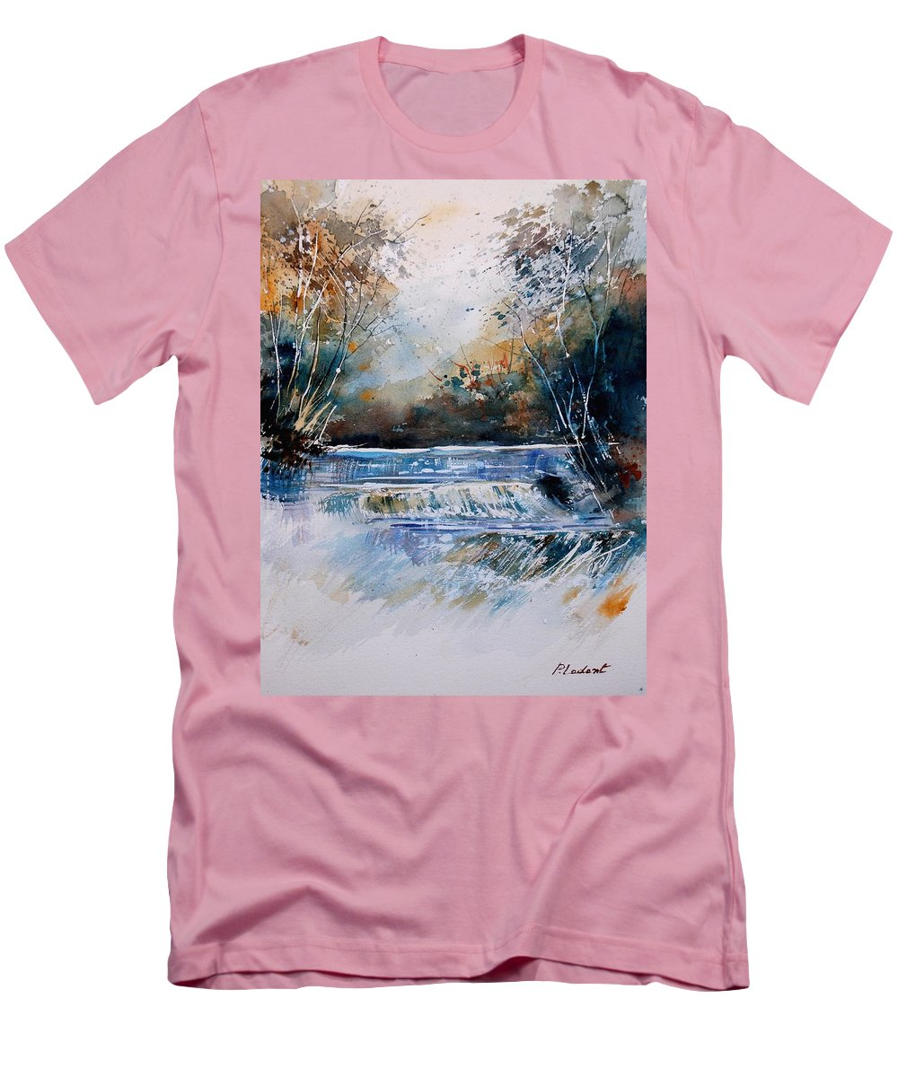 Water Men's T-Shirt (Athletic Fit) featuring the painting Watercolor 902021 by Pol Ledent