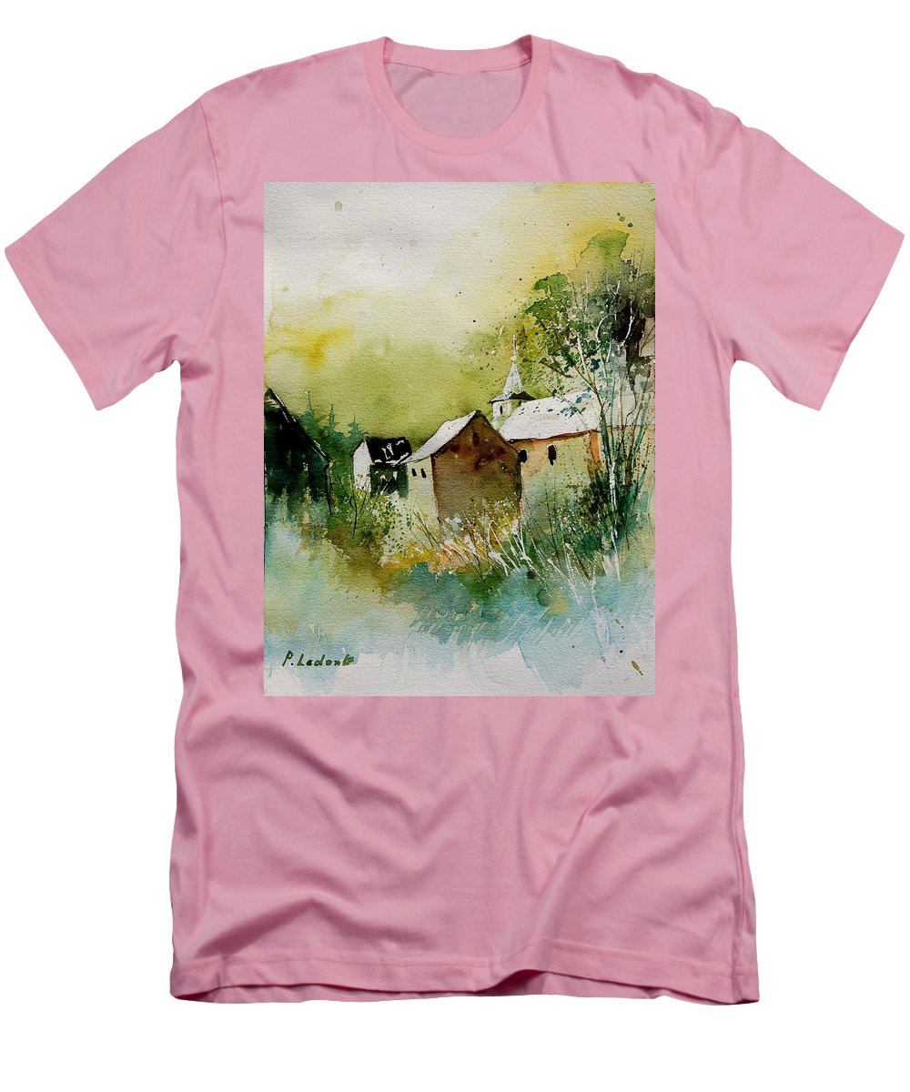 Landscape Men's T-Shirt (Athletic Fit) featuring the painting Watercolor Sosoye by Pol Ledent