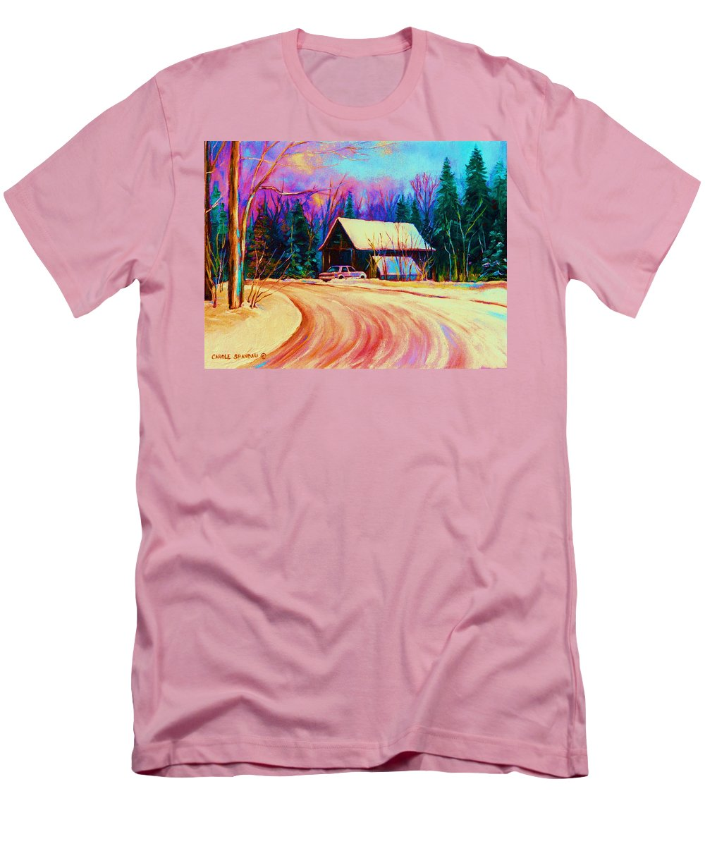 Landscape Men's T-Shirt (Athletic Fit) featuring the painting Winter Getaway by Carole Spandau