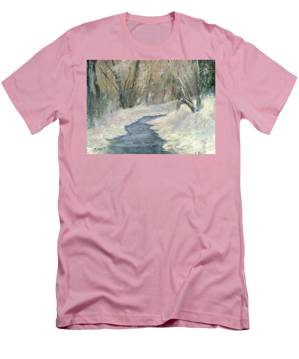Snow Men's T-Shirt (Athletic Fit) featuring the painting Winter On Stormcreek by Gail Kirtz