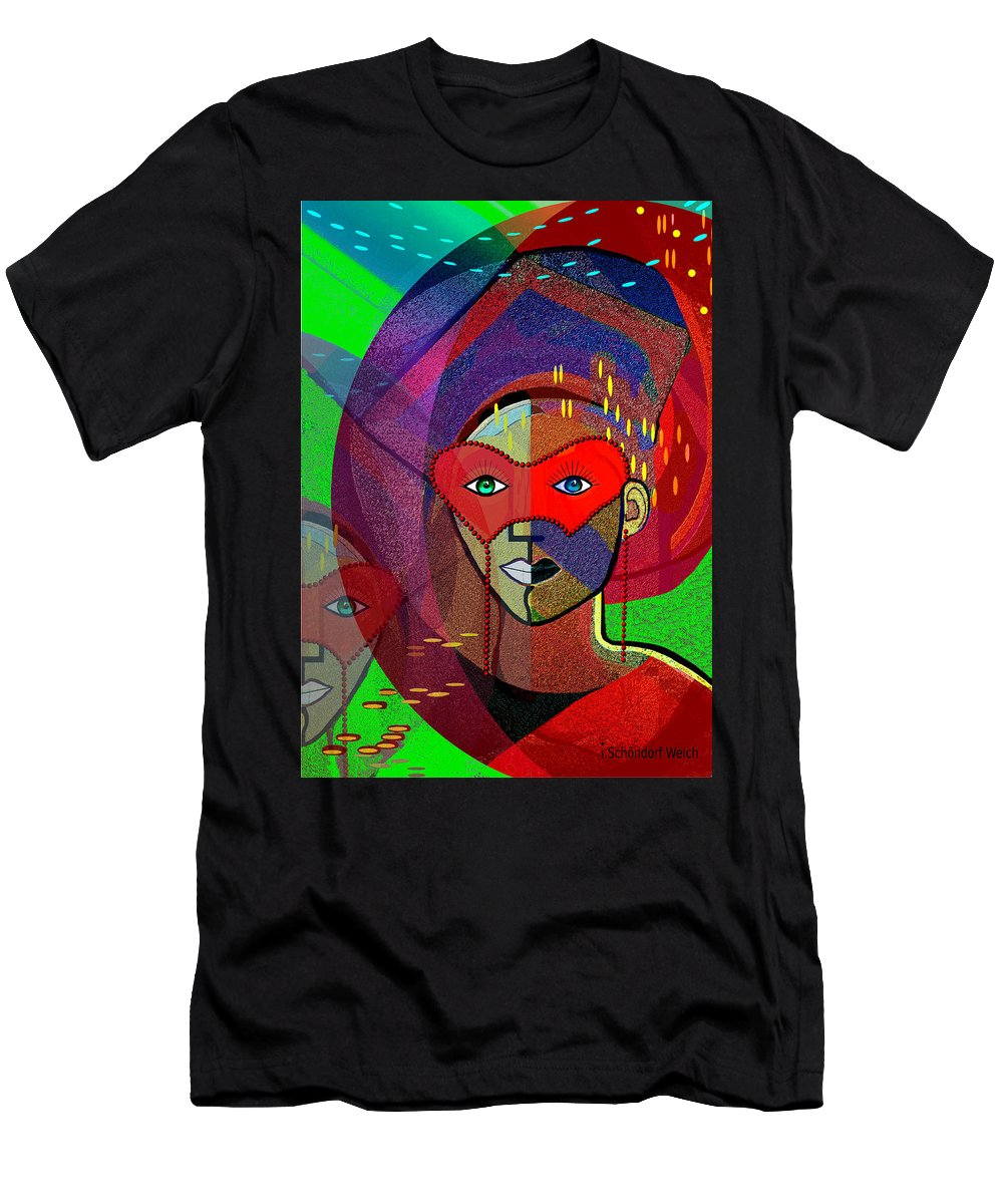394 Challenging Woman With Mask Men's T-Shirt (Athletic Fit) featuring the painting  394 - Challenging Woman With Mask by Irmgard Schoendorf Welch