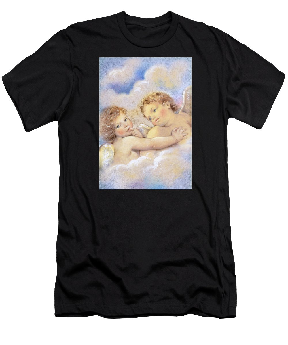 Angels Men's T-Shirt (Athletic Fit) featuring the painting Angels In The Sky by Patrick Hoenderkamp