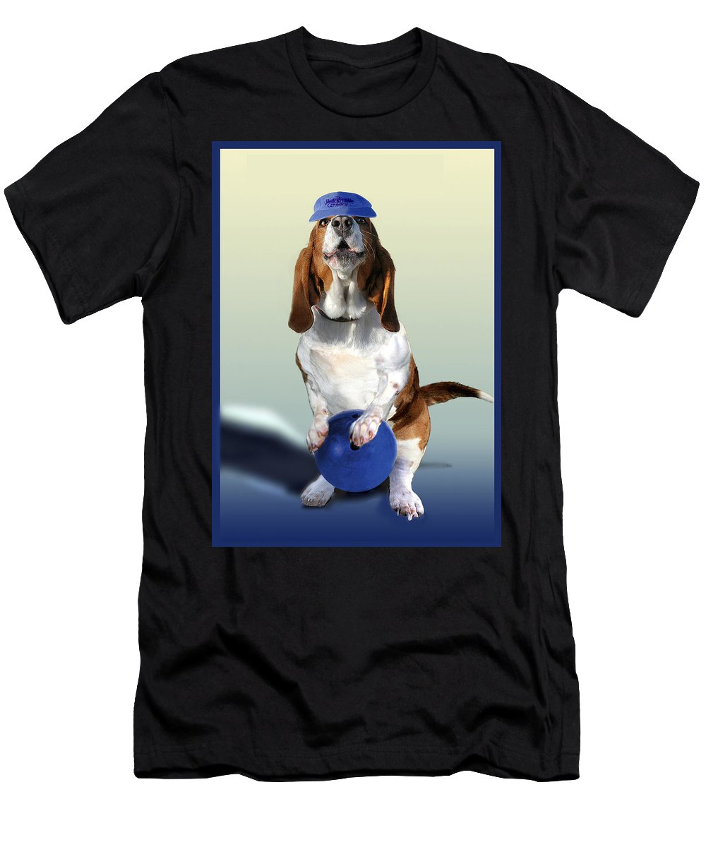 Animal Men's T-Shirt (Athletic Fit) featuring the painting Bowling Hound by Regina Femrite