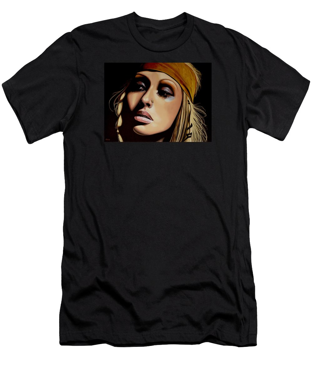 Christina Aguilera Men's T-Shirt (Athletic Fit) featuring the painting Christina Aguilera Painting by Paul Meijering