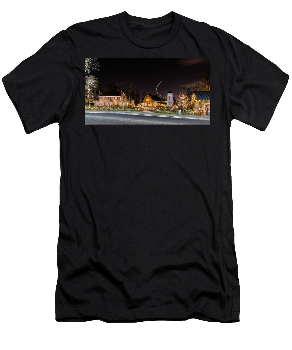 Billy Graham Parkway Men's T-Shirt (Athletic Fit) featuring the photograph Christmas Celebration At Billy Graham by Alex Grichenko