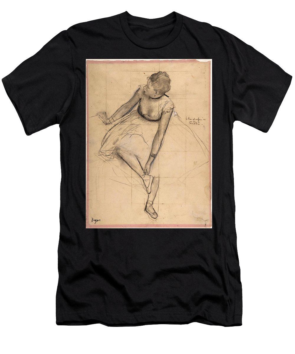 Edgar Degas Men's T-Shirt (Athletic Fit) featuring the drawing 	Dancer Adjusting Her Slipper by Edgar Degas