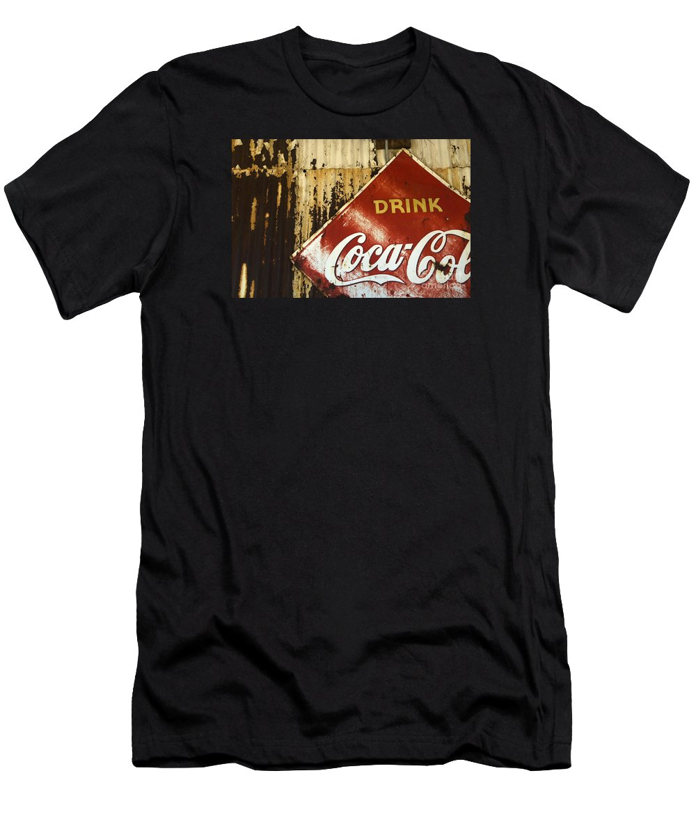 Coke Sign Men's T-Shirt (Athletic Fit) featuring the photograph Drink Coca Cola Memorbelia by Bob Christopher