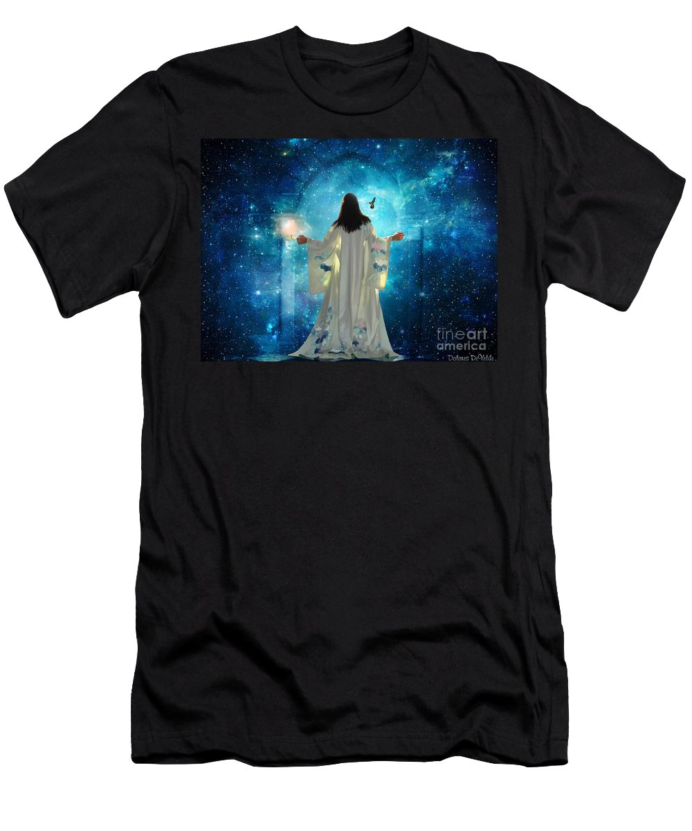 Heavens Door Kingdom Of Heaven Bride Of Christ Revelation Men's T-Shirt (Athletic Fit) featuring the digital art Heavens Door by Dolores Develde