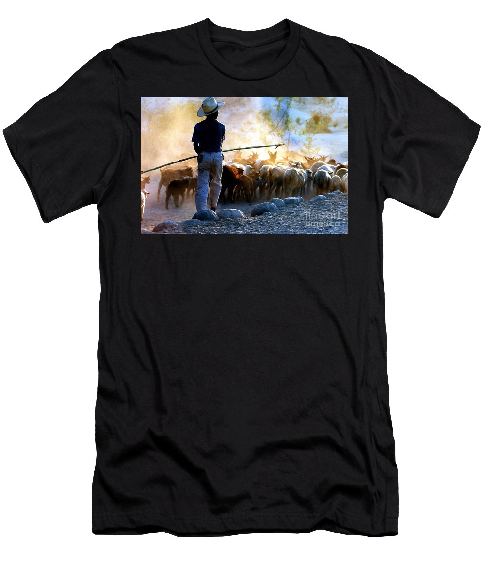 Rocks Men's T-Shirt (Athletic Fit) featuring the photograph Herder Going Home In Mexico by Phyllis Kaltenbach