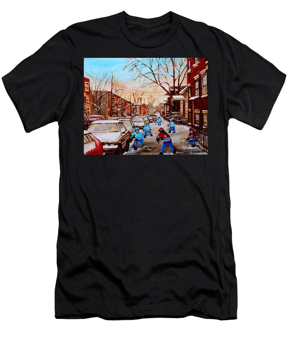 Montreal T-Shirt featuring the painting Hockey Art- Verdun Street Scene - Paintings Of Montreal by Carole Spandau