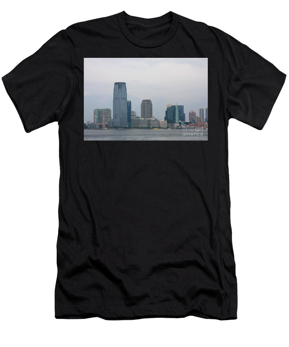 Jersey City Men's T-Shirt (Athletic Fit) featuring the photograph Jersey City Skyline by Christiane Schulze Art And Photography