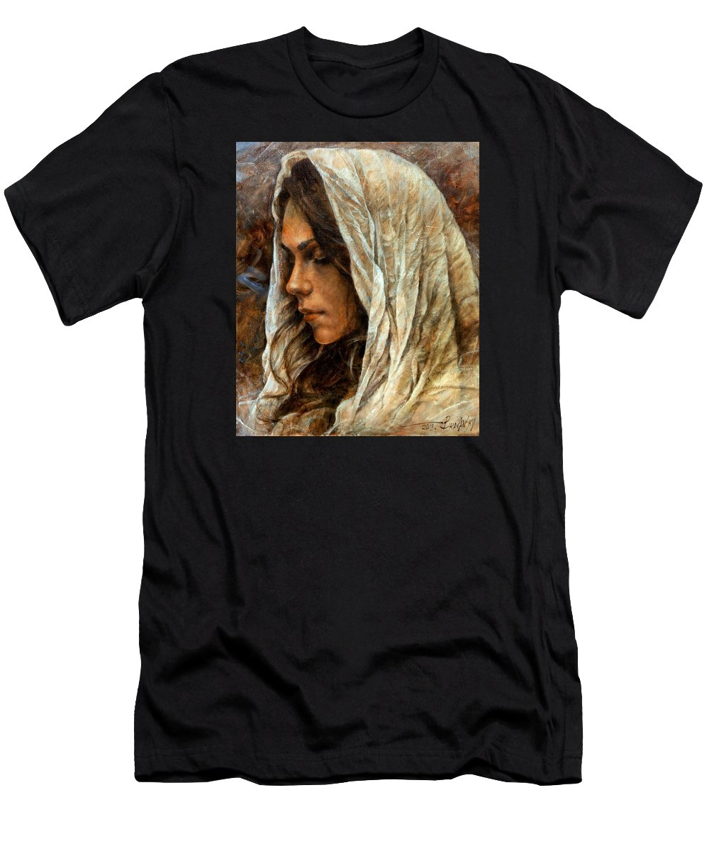Girl Portrait Men's T-Shirt (Athletic Fit) featuring the painting Maria2 by Arthur Braginsky