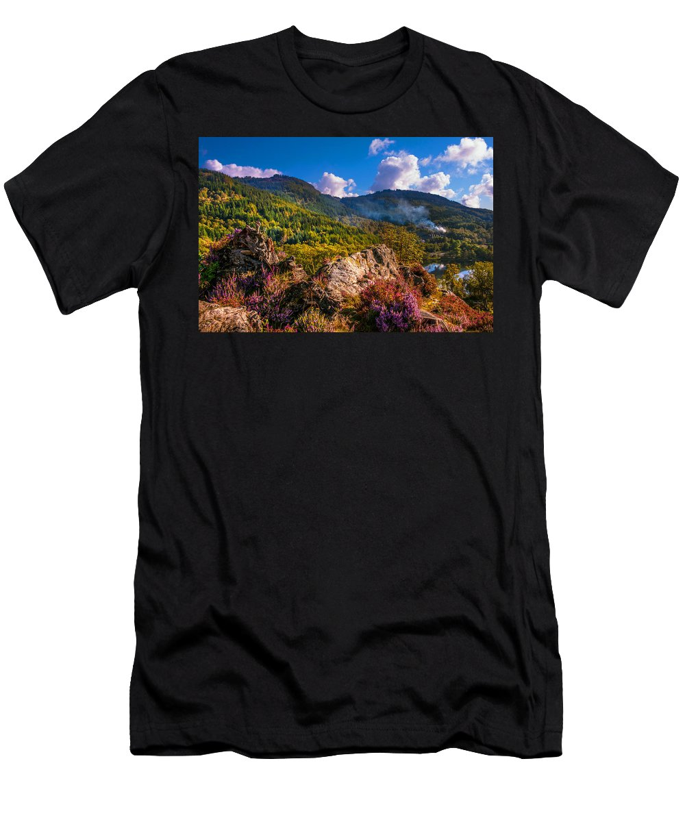 Scotland Men's T-Shirt (Athletic Fit) featuring the photograph Overview Of The Loch Achray  by Jenny Rainbow