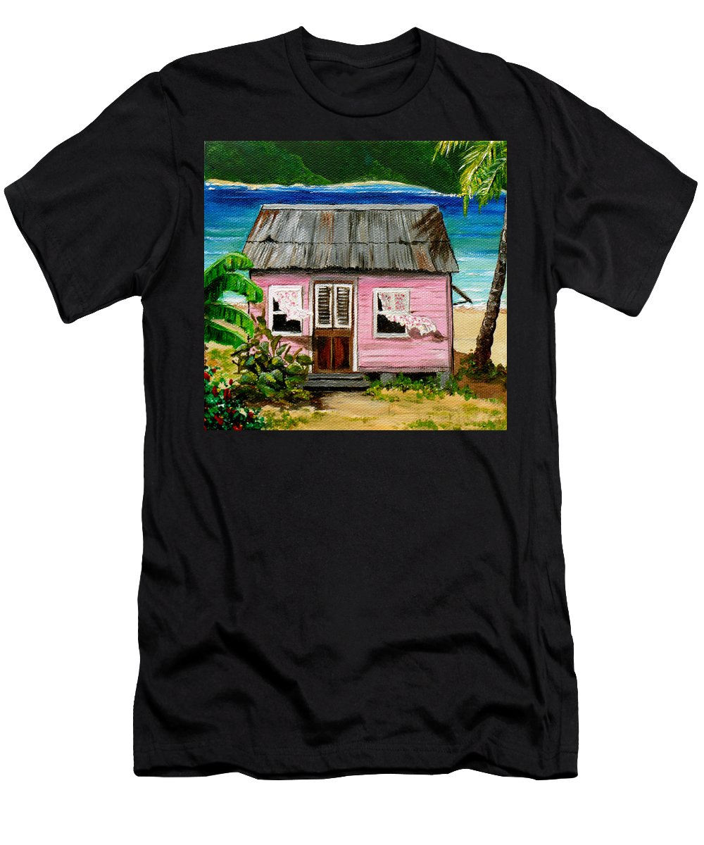Caribbean House T-Shirt featuring the painting Pink Caribbean House by Karin Dawn Kelshall- Best