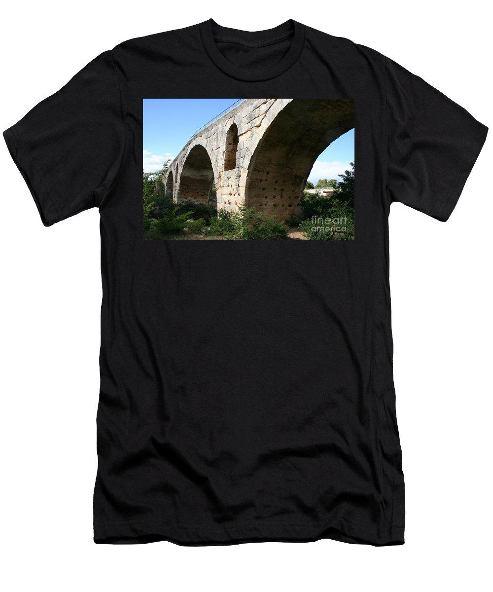 Roman Stonebridge Men's T-Shirt (Athletic Fit) featuring the photograph Roman Bridge Pont St. Julien by Christiane Schulze Art And Photography