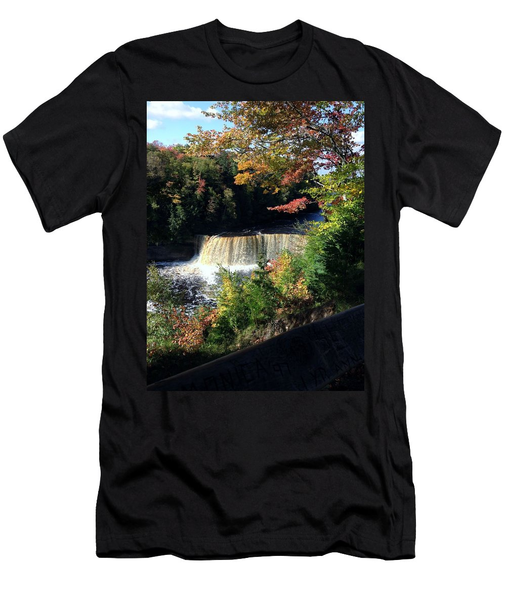 Tahquamenon Falls Men's T-Shirt (Athletic Fit) featuring the photograph Tahquamenon Falls In Autumn by Linda Kerkau