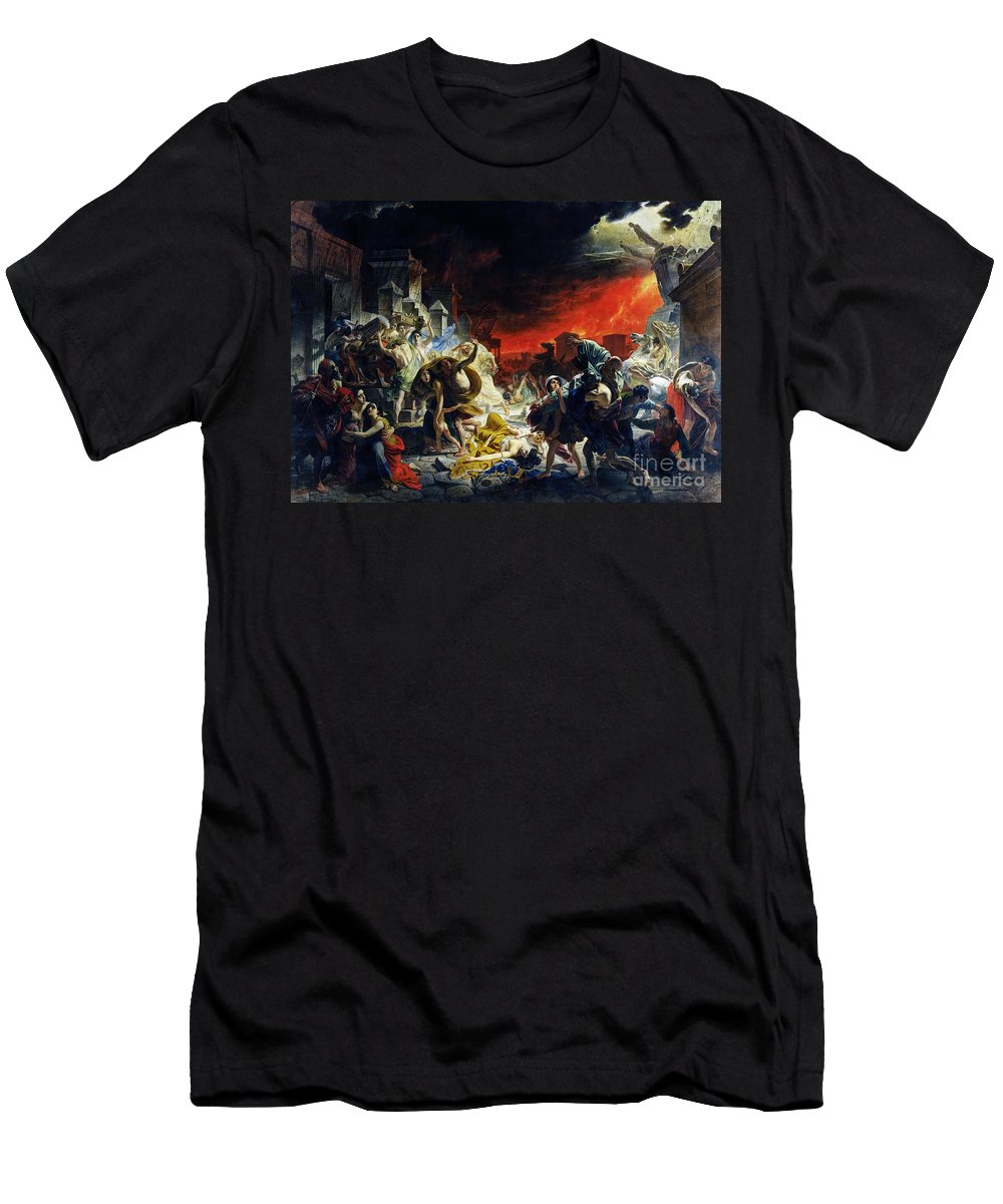 Last Day Men's T-Shirt (Athletic Fit) featuring the painting The Last Day Of Pompeii by Viktor Birkus