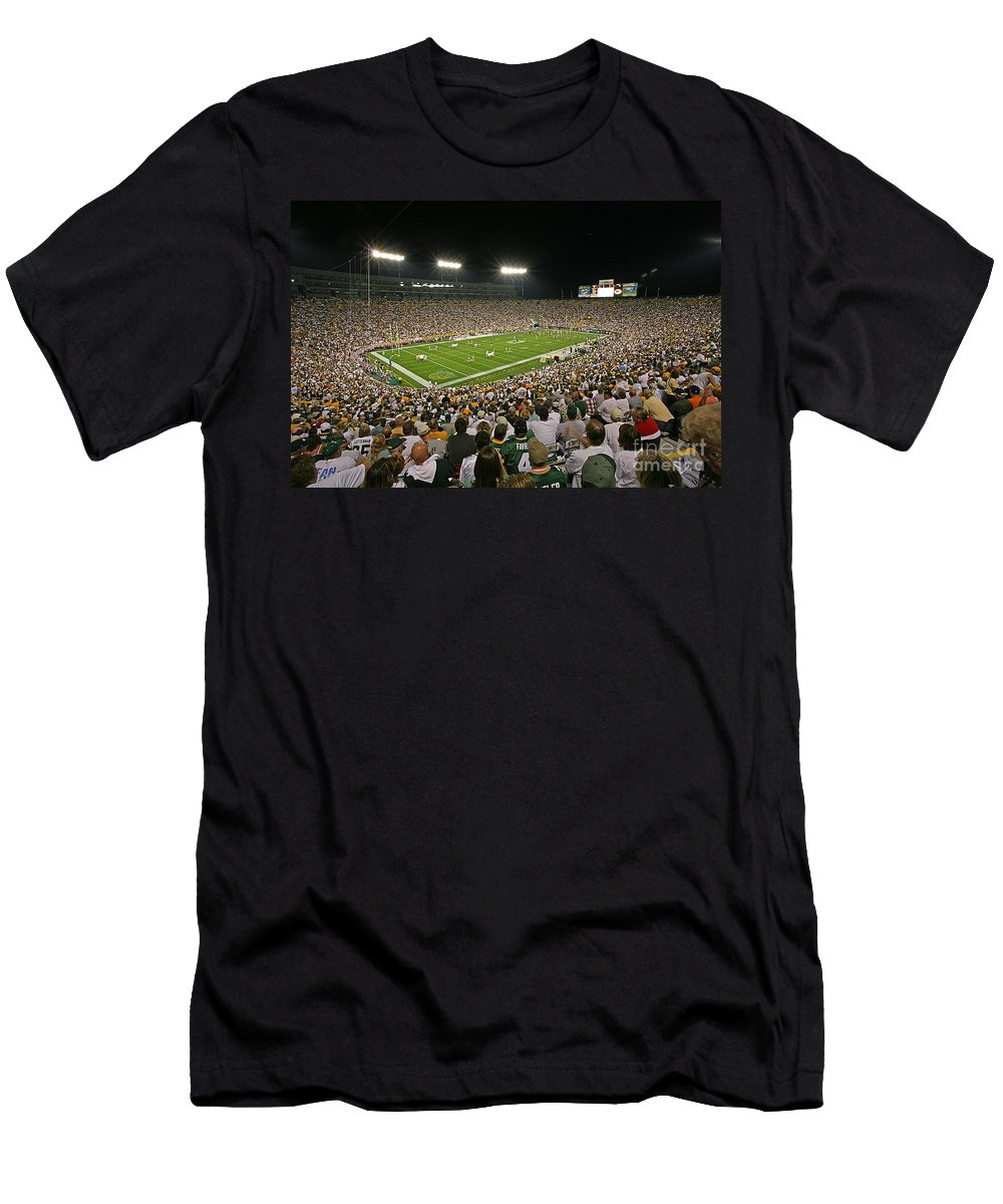 Green Men's T-Shirt (Athletic Fit) featuring the photograph 0610 Lambeau Field by Steve Sturgill