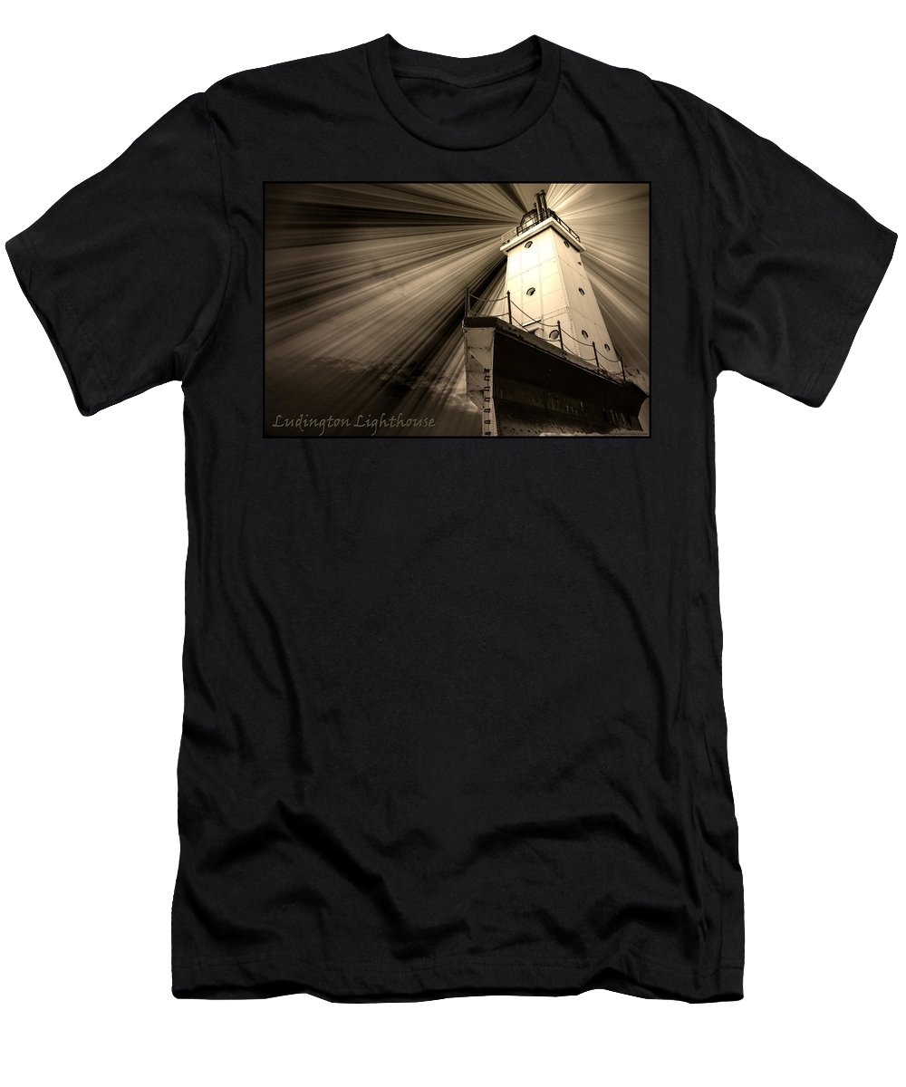 Usa Men's T-Shirt (Athletic Fit) featuring the photograph Ludington Light House Michigan by LeeAnn McLaneGoetz McLaneGoetzStudioLLCcom