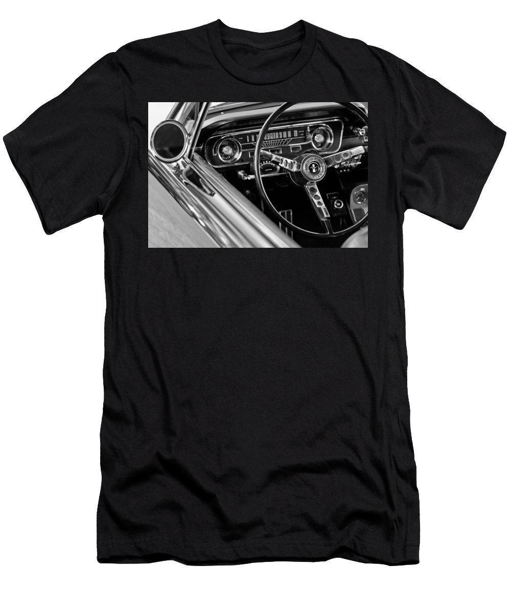 1965 Shelby Prototype Ford Mustang Steering Wheel Men's T-Shirt (Athletic Fit) featuring the photograph 1965 Shelby Prototype Ford Mustang Steering Wheel by Jill Reger