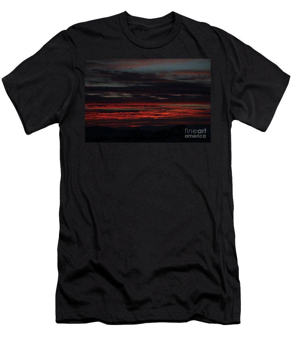 Sunset-orange-backlit- Men's T-Shirt (Athletic Fit) featuring the photograph 1-4-2015 by Marlous Bleazard