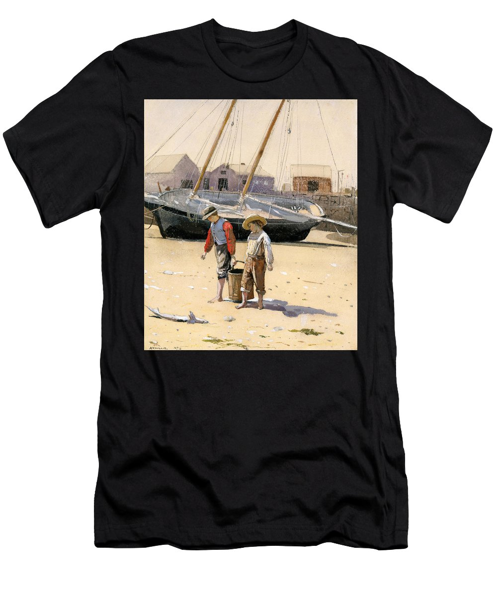 Winslow Homer Men's T-Shirt (Athletic Fit) featuring the drawing A Basket Of Clams by Winslow Homer