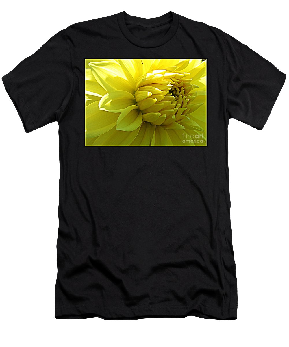 Yellow Dahlia Men's T-Shirt (Athletic Fit) featuring the photograph Golden Dahlia by Dora Sofia Caputo Photographic Design and Fine Art