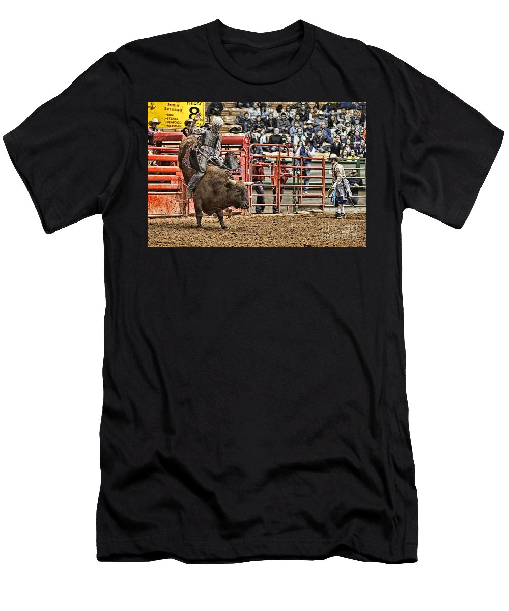 Night Men's T-Shirt (Athletic Fit) featuring the photograph A Night At The Rodeo V6 by Douglas Barnard