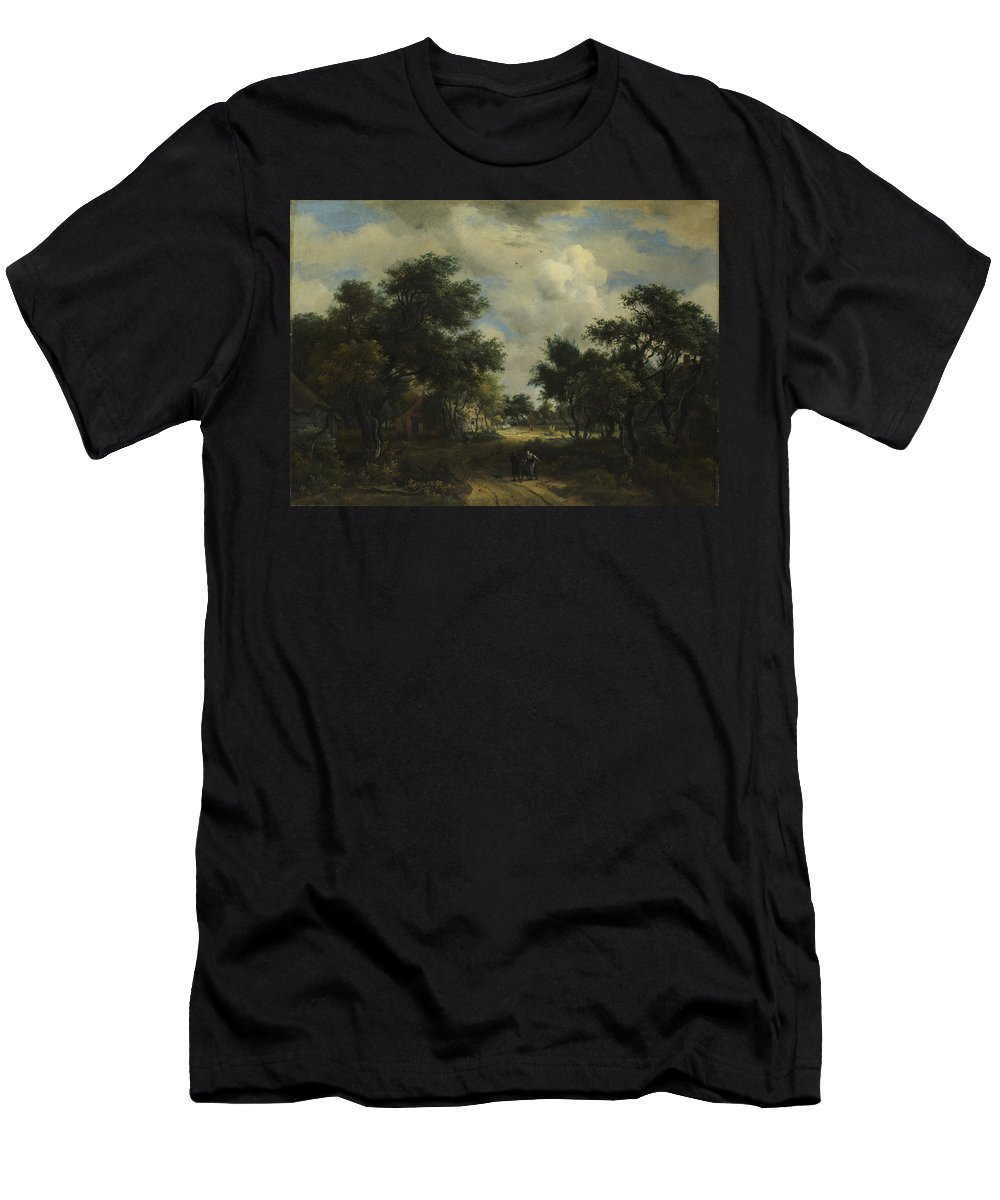 Meindert Hobbema Men's T-Shirt (Athletic Fit) featuring the painting A Road Winding Past Cottages by Meindert Hobbema