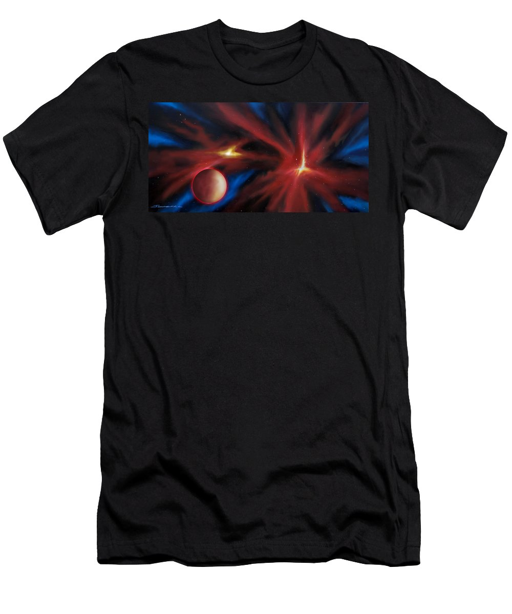 James C. Hill Men's T-Shirt (Athletic Fit) featuring the painting Agamnenon Nebula by James Christopher Hill