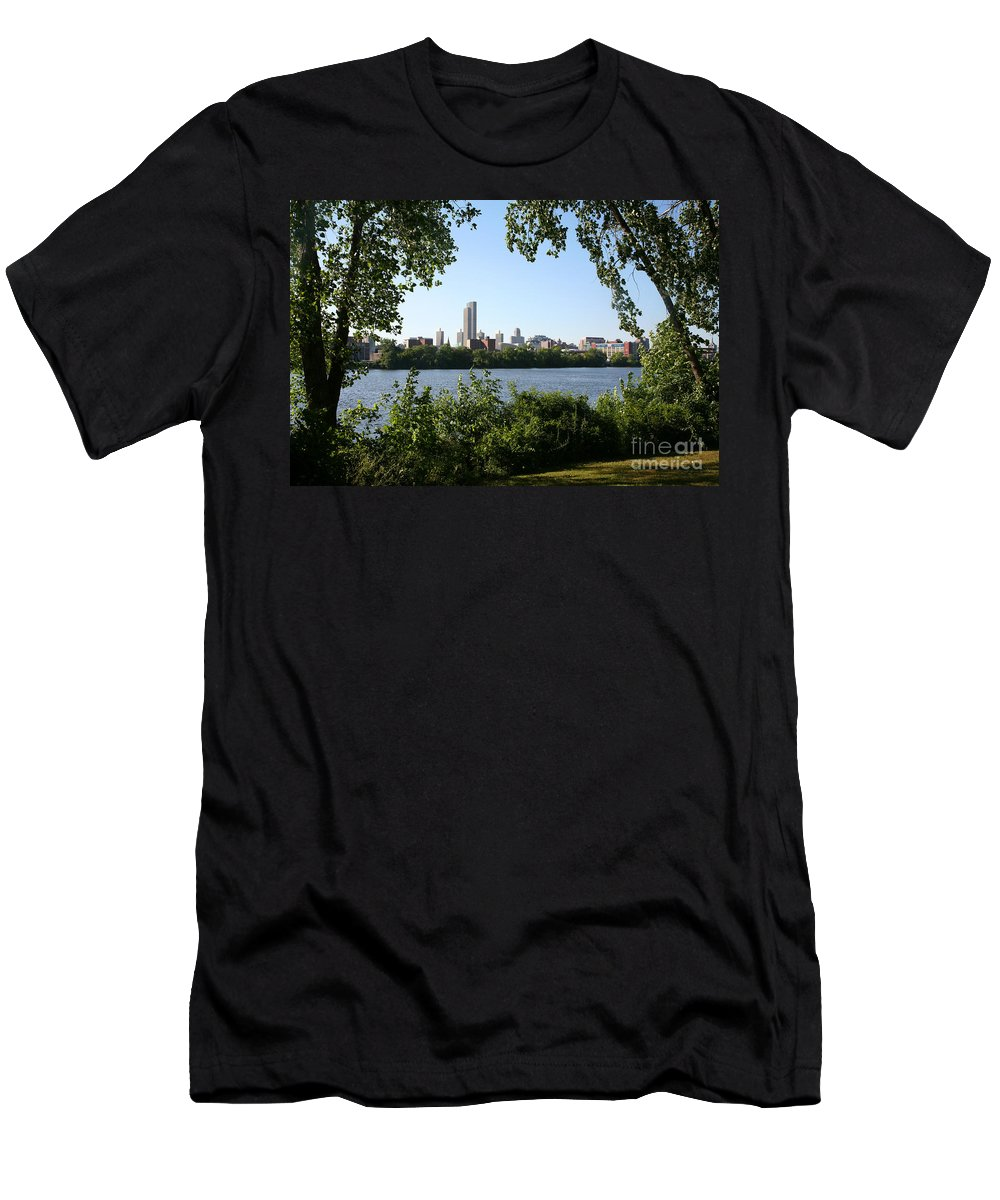 Empire State Plaza Men's T-Shirt (Athletic Fit) featuring the photograph Albany Skyline by Bill Cobb