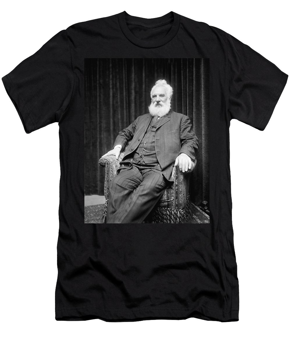 1 Person Men's T-Shirt (Athletic Fit) featuring the photograph Alexander Graham Bell by Underwood
